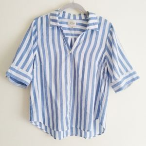 J. Crew blue stripe half sleeve button-up shirt S